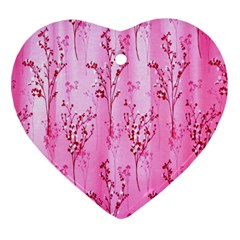 Pink Curtains Background Ornament (Heart)
