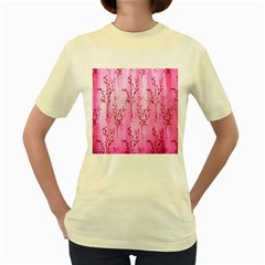 Pink Curtains Background Women s Yellow T Shirt