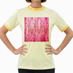 Pink Curtains Background Women s Fitted Ringer T Shirts