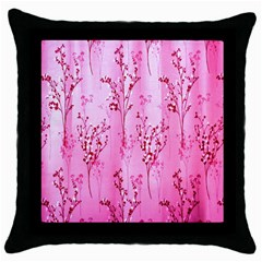 Pink Curtains Background Throw Pillow Case (Black)