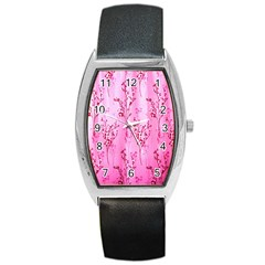 Pink Curtains Background Barrel Style Metal Watch