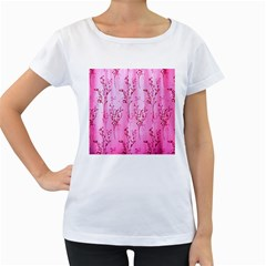Pink Curtains Background Women s Loose-Fit T-Shirt (White)