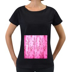 Pink Curtains Background Women s Loose Fit T Shirt (black)