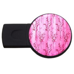 Pink Curtains Background USB Flash Drive Round (4 GB)