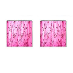Pink Curtains Background Cufflinks (Square)