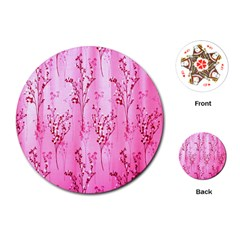 Pink Curtains Background Playing Cards (Round)