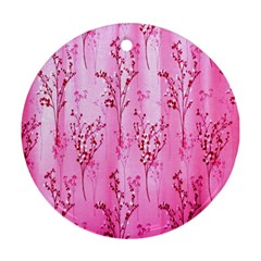 Pink Curtains Background Round Ornament (two Sides)