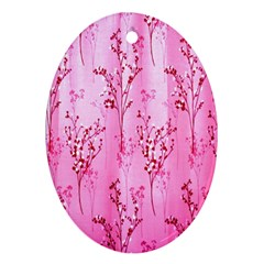 Pink Curtains Background Oval Ornament (Two Sides)