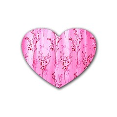 Pink Curtains Background Rubber Coaster (Heart)