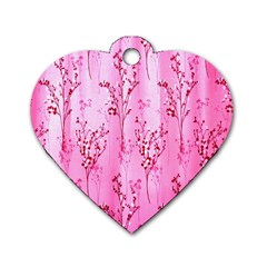 Pink Curtains Background Dog Tag Heart (Two Sides)