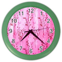 Pink Curtains Background Color Wall Clocks