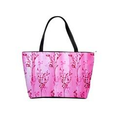 Pink Curtains Background Shoulder Handbags