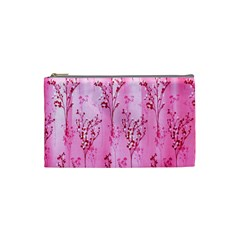 Pink Curtains Background Cosmetic Bag (small)