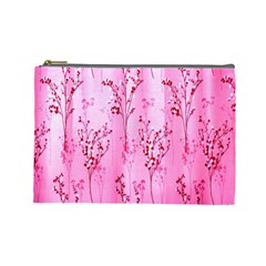 Pink Curtains Background Cosmetic Bag (Large)