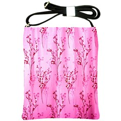 Pink Curtains Background Shoulder Sling Bags