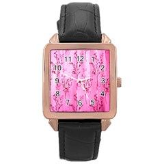 Pink Curtains Background Rose Gold Leather Watch