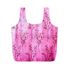 Pink Curtains Background Full Print Recycle Bags (M)