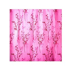Pink Curtains Background Small Satin Scarf (square)