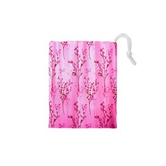 Pink Curtains Background Drawstring Pouches (XS)