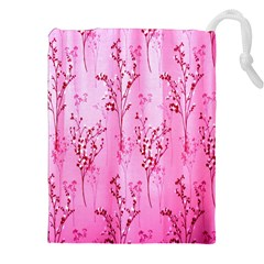 Pink Curtains Background Drawstring Pouches (XXL)