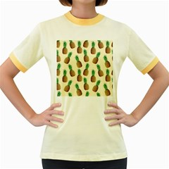 Pineapple Wallpaper Pattern Women s Fitted Ringer T Shirts