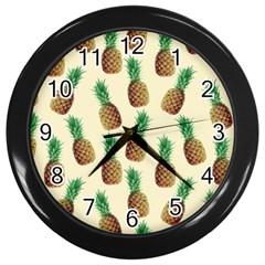 Pineapple Wallpaper Pattern Wall Clocks (Black)