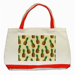 Pineapple Wallpaper Pattern Classic Tote Bag (Red)