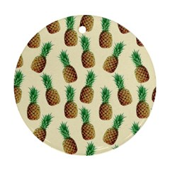 Pineapple Wallpaper Pattern Round Ornament (two Sides)