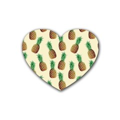 Pineapple Wallpaper Pattern Rubber Coaster (Heart)