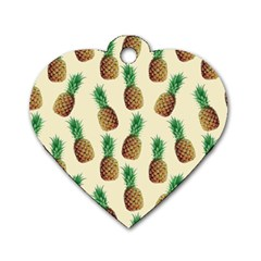 Pineapple Wallpaper Pattern Dog Tag Heart (Two Sides)
