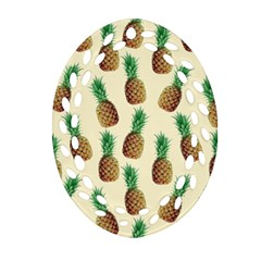 Pineapple Wallpaper Pattern Oval Filigree Ornament (two Sides)