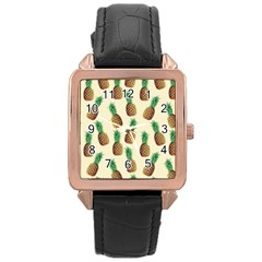 Pineapple Wallpaper Pattern Rose Gold Leather Watch