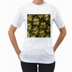 Pineapple Fruit Close Up Macro Women s T-Shirt (White) (Two Sided)