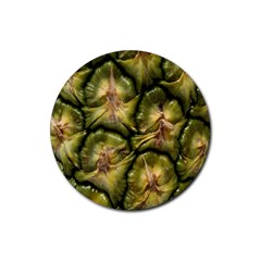 Pineapple Fruit Close Up Macro Rubber Round Coaster (4 Pack)