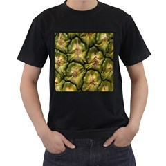 Pineapple Fruit Close Up Macro Men s T-Shirt (Black) (Two Sided)