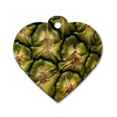 Pineapple Fruit Close Up Macro Dog Tag Heart (Two Sides)
