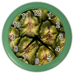 Pineapple Fruit Close Up Macro Color Wall Clocks