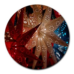 Poinsettia Red Blue White Round Mousepads