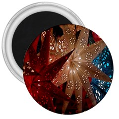 Poinsettia Red Blue White 3  Magnets