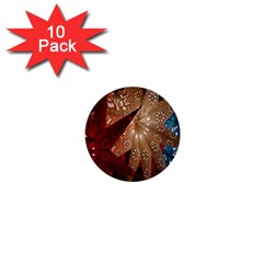 Poinsettia Red Blue White 1  Mini Buttons (10 Pack)