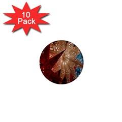 Poinsettia Red Blue White 1  Mini Magnet (10 pack)