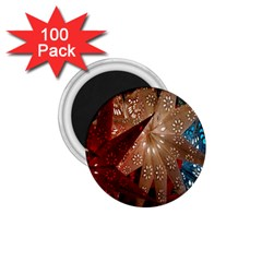 Poinsettia Red Blue White 1.75  Magnets (100 pack)