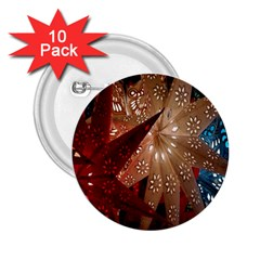 Poinsettia Red Blue White 2 25  Buttons (10 Pack)