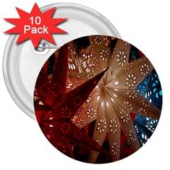 Poinsettia Red Blue White 3  Buttons (10 pack)