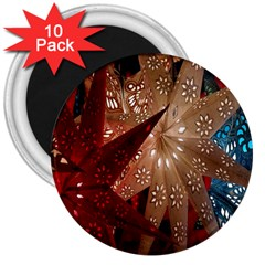 Poinsettia Red Blue White 3  Magnets (10 pack)