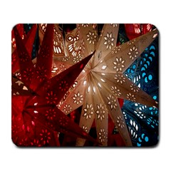 Poinsettia Red Blue White Large Mousepads