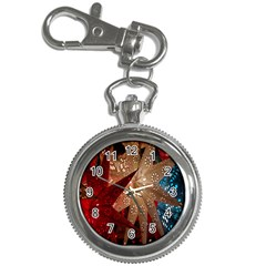 Poinsettia Red Blue White Key Chain Watches