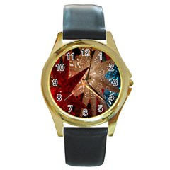 Poinsettia Red Blue White Round Gold Metal Watch