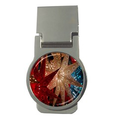 Poinsettia Red Blue White Money Clips (round)