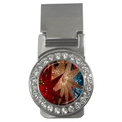 Poinsettia Red Blue White Money Clips (CZ)
